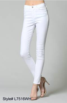 L7516WH - high waist white skinny