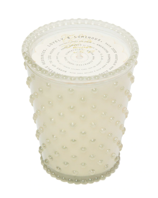 Hobnail candle - white flower