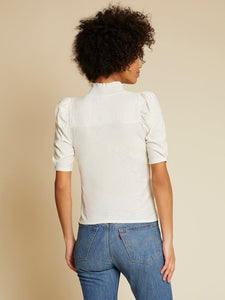 Pietra high neck snap tee - off white