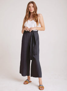 Tie waist wide leg crop pant - twilight
