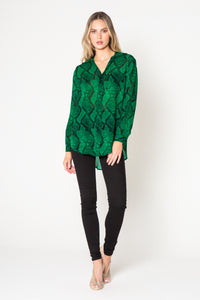 Snakeskin blouse - green / black