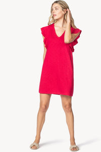 Ruffle sleeve v-neck dress - loganberry