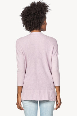 3/4 sleeve shawl collar tunic sweater (PA1458) - lotus