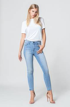Y2901 - high rise hem detail crop skinny