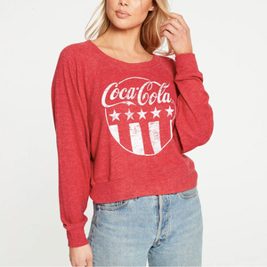 Cropped long sleeve drop shoulder batwing pullover (coca-cola) - cardinal