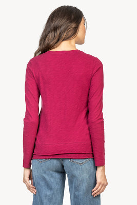3/4 sleeve layered v-neck tee