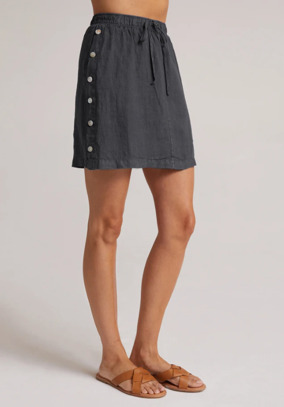 Side button skirt - deep indigo