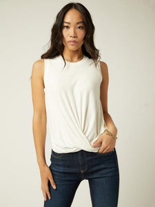 Drape front crop top - white