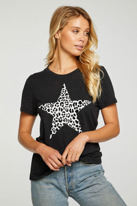 Leopard star tee - true black