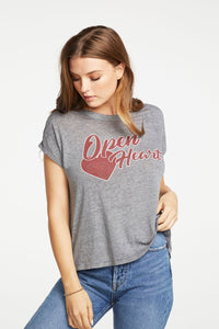 Drop shoulder flouncy swing cropped tee - Open Heart