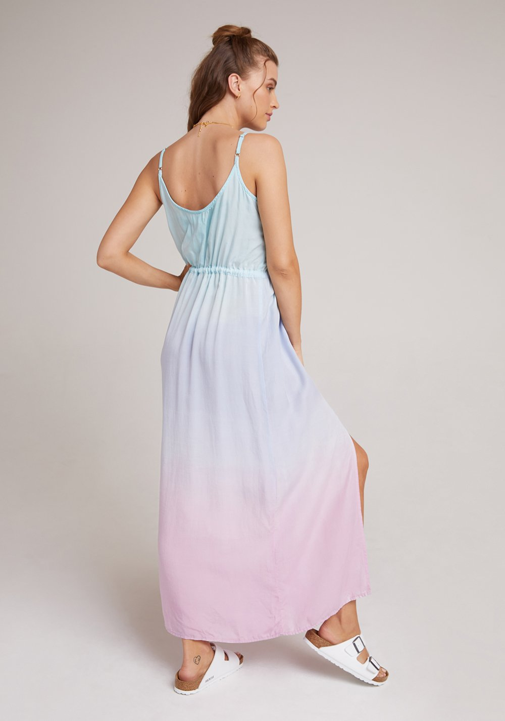 Tie waist maxi dress - ombre sunrise