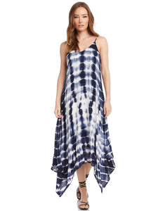 Handkerchief hem dress - navy tie dye