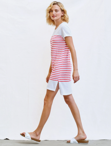 T-shirt dress with slits - white maritime stripes