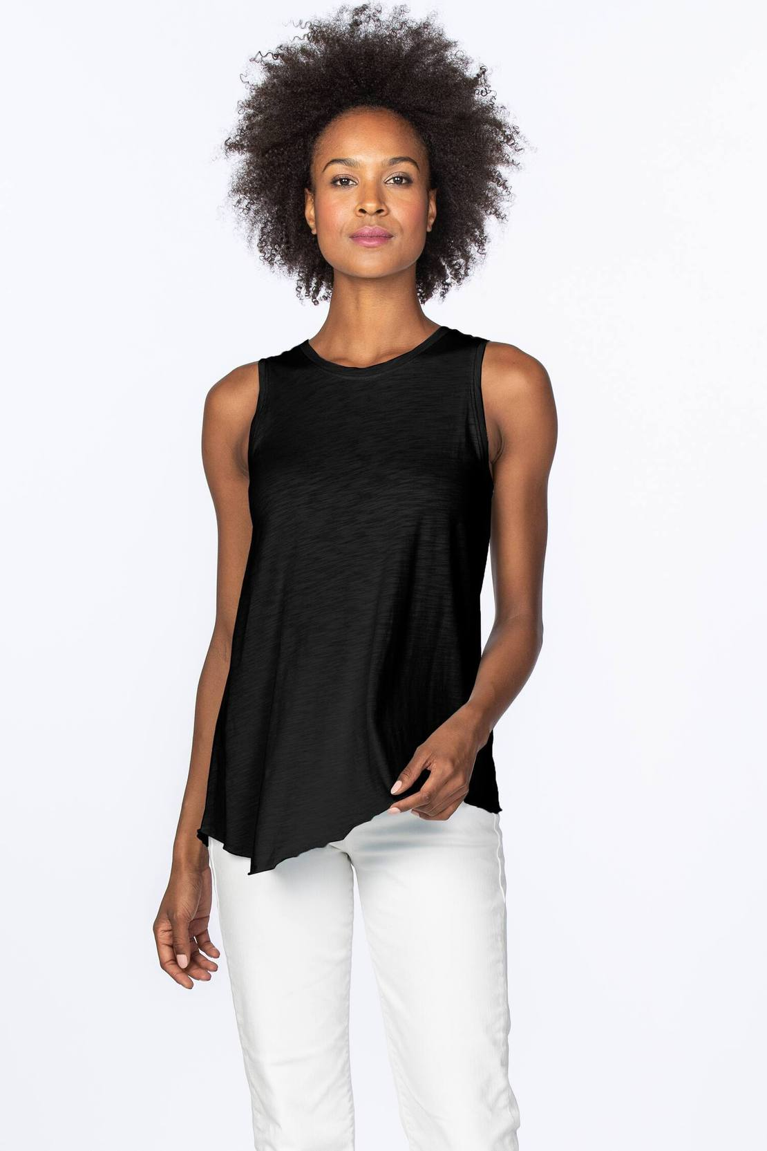 Asymmetrical crewneck tank - black