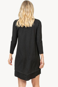 Rib trim v-neck dress