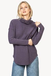 Dropped shoulder waffle cowl neck