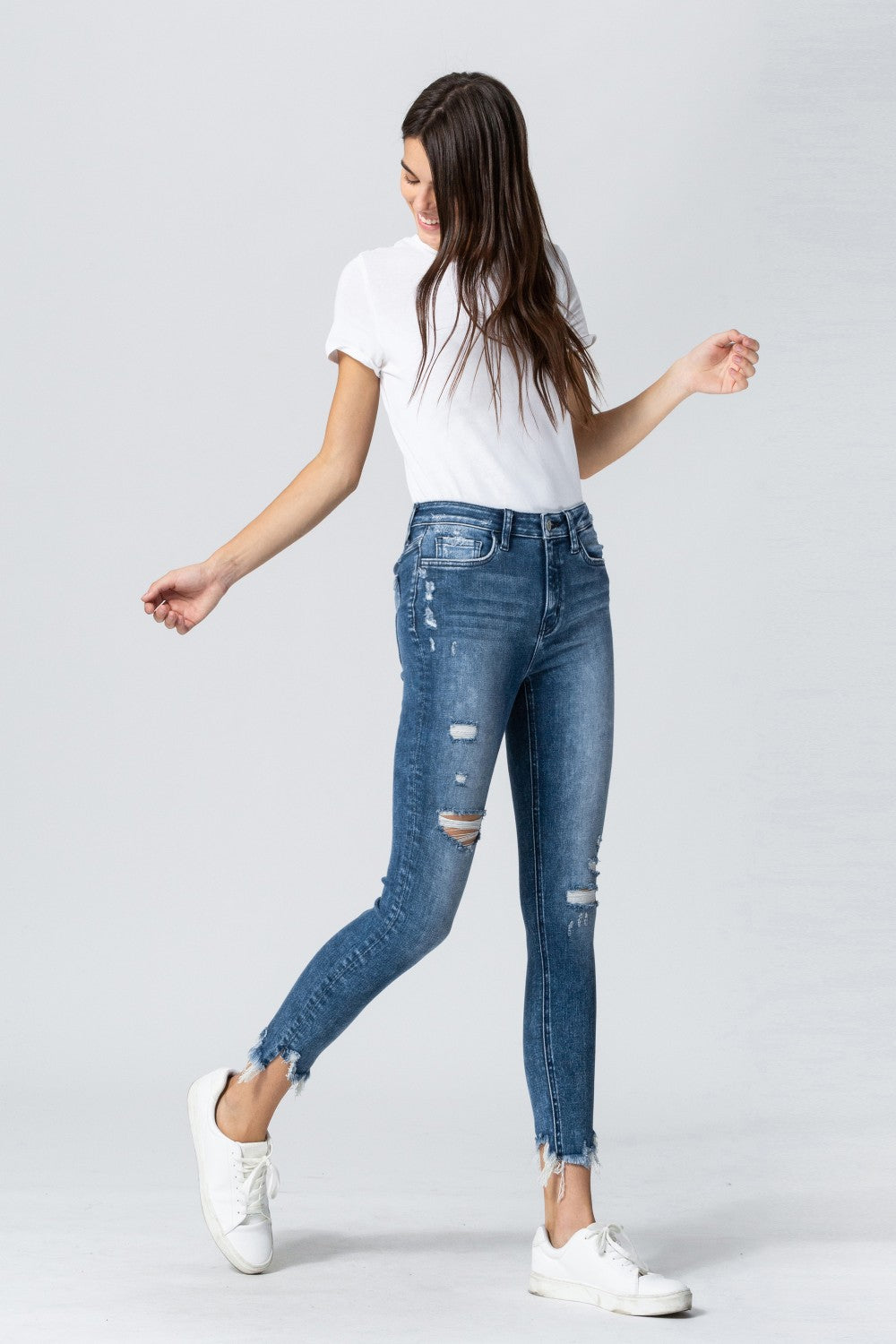 Y3524 - high rise uneven fray hem crop skinny