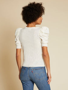 Celine puff sleeve smocked tee - off white