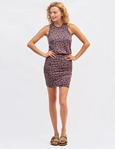 Abstract dots dress - mauve