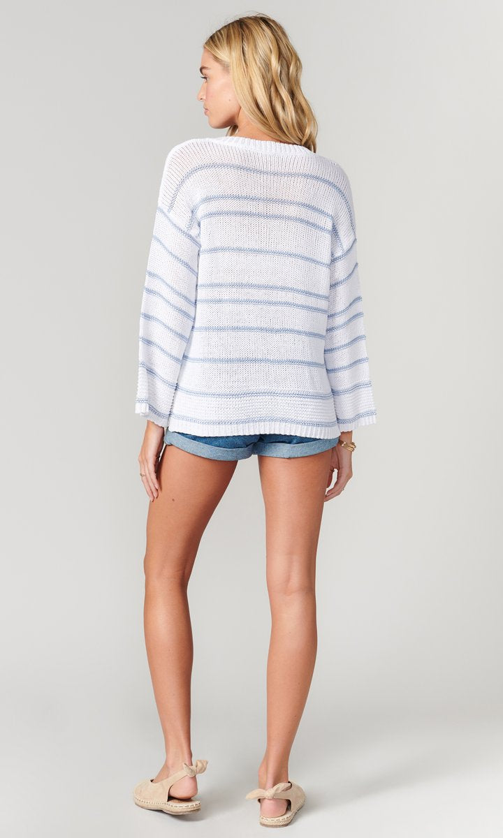 Larissa stripe v-neck sweater - white / chambray