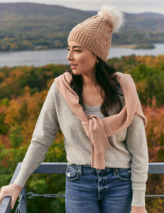 Cashmere cable hat with faux pom