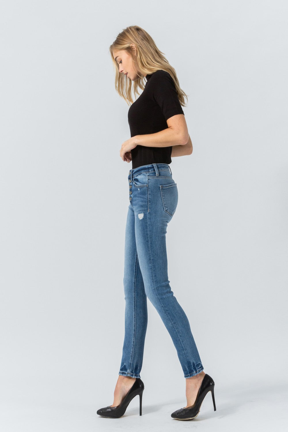 Y3536 - high rise button up ankle skinny