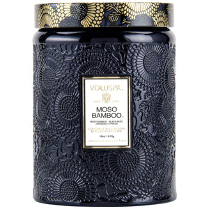 Moso Bamboo Large Glass Jar Candle