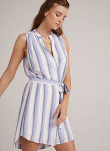 Sleeveless pleat front dress - ombre sunrise