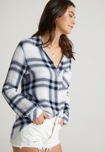 Pocket button down - white plaid