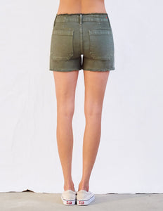 Embroidered raw edge shorts - army