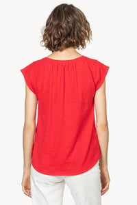 Short sleeve split neck tee (PA0728) - salsa