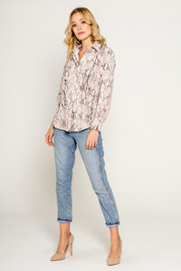 Snake print button down blouse