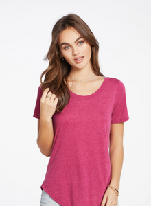 Short sleeve low back shirttail tee - acai
