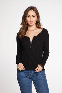 Cropped ballet neck zip front tee with lettuce edge	- true black