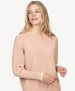 Oversized funnel neck sweater - pink sand