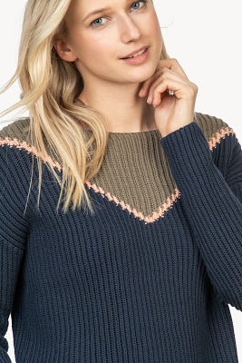 Intarsia boatneck sweater