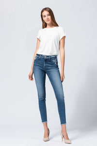 Y3291 - high rise raw hem ankle skinny
