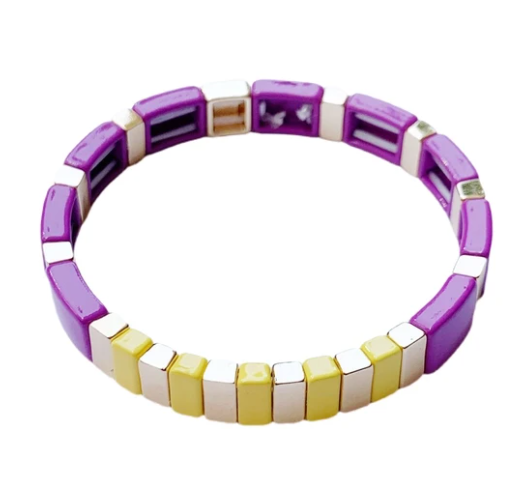 High tide bracelet - purple / yellow / gold