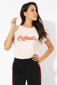 Cocktails slub loose tee - light pink