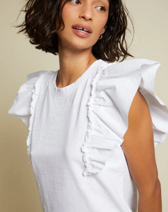 Para boxy tee with bubble hem sleeve - optic white