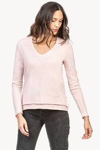 3/4 sleeve layered v-neck tee - lotus