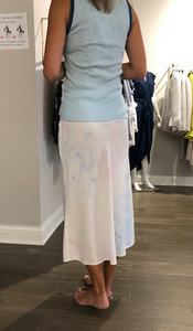 Color spray bias midi skirt - pink / blue