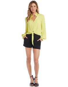 Smocked tie front top - lime
