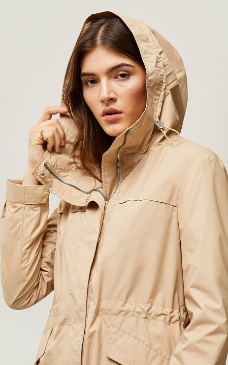 Joselyn straight fit water-repellent jacket - almond