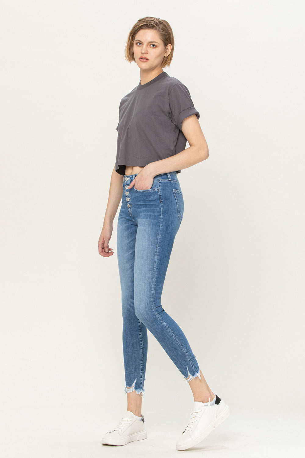 Y3642 - mid rise button up distressed hem crop skinny - sweet love
