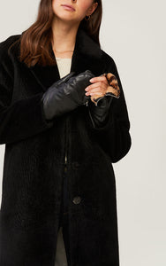 Betrice faux fur-lined leather mittens - black/leopard
