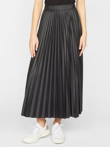 Top secret vegan leather pleated midi - black