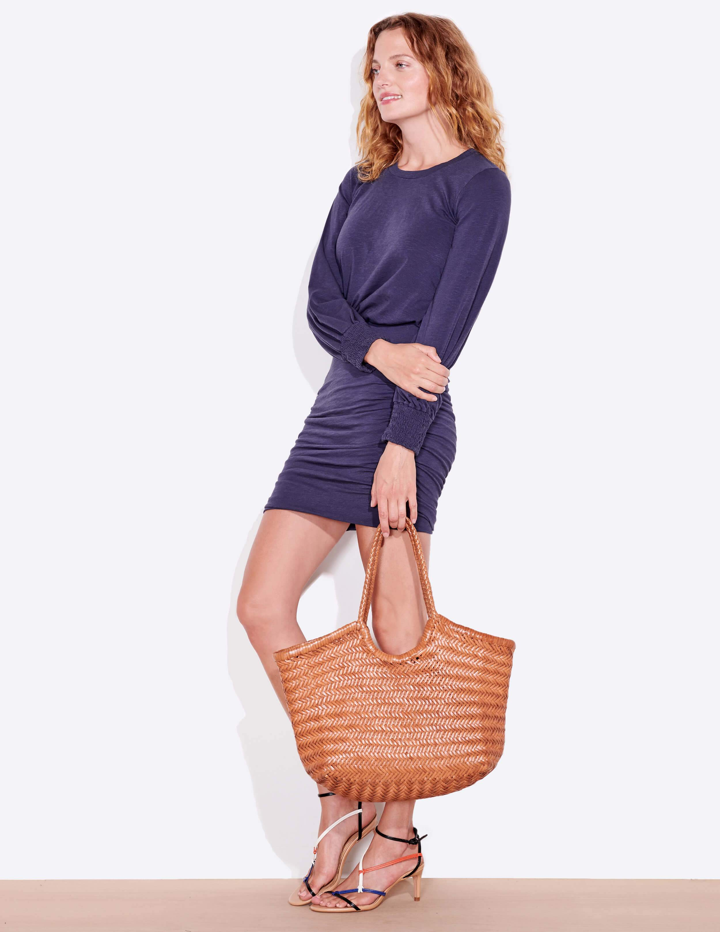 Ruched dress with lantern sleeve - navy