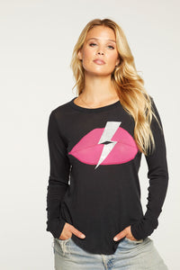 Bolt lips crew neck shirttail tee - black