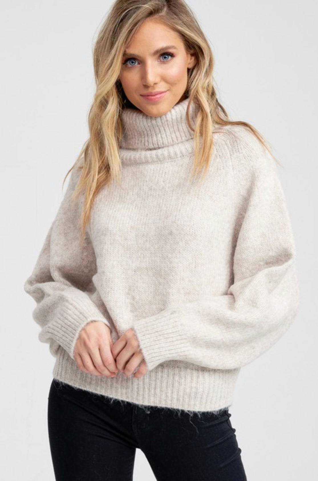 Chunky dolman sleeve turtleneck sweater - oatmeal